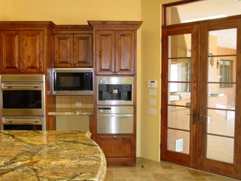 Alder Kitchen Cabinets & French Doors